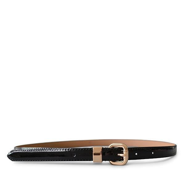 Queens Park - Black Patent Leather Skinny Belt with Gold Buckle - BeltNBags
