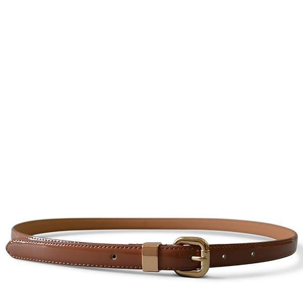 Queens Park - Tan Brown Patent Leather Skinny Belt with Gold Buckle - BeltNBags