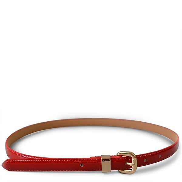 Queens Park - Patent Genuine Leather Red Skinny Belt Gold Buckle  - Belt N Bags
