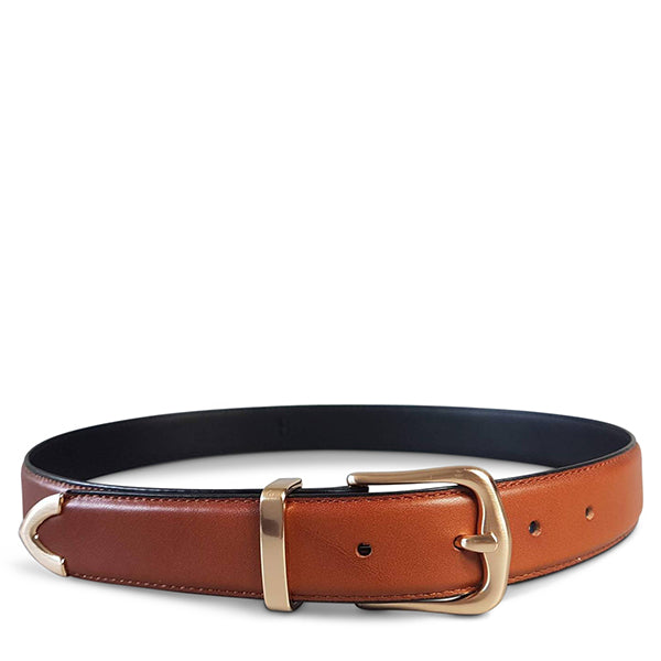 DALLAS - Womens Tan Genuine Leather Belt with Gold Buckle  - Belt N Bags