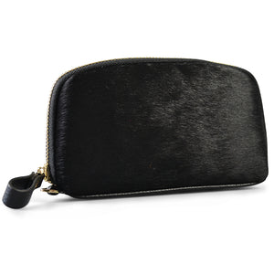CARMICHAEL- Addison Road Black Calf Hair Wrist Purse - BeltNBags