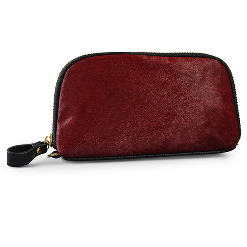 CARMICHAEL - Addison Road  Wine Calf Hair Wrist Purse - BeltNBags