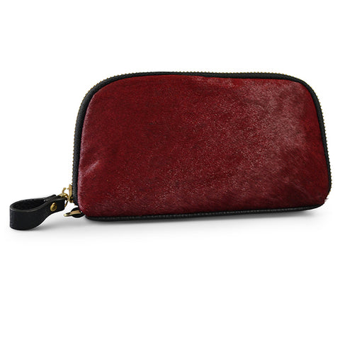 CARMICHAEL - Addison Road  Wine Calf Hair Wrist Purse