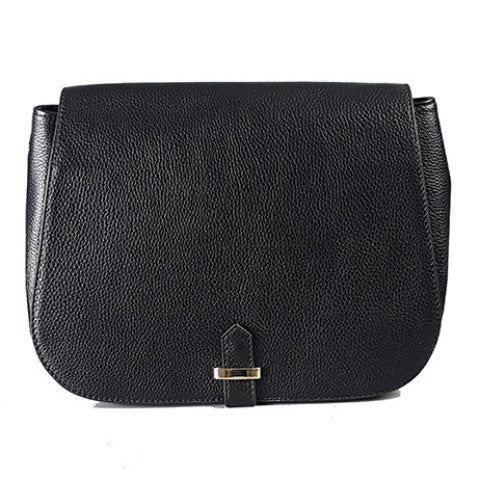 ALBERT PARK - Black Pebbled Leather Saddle Bag