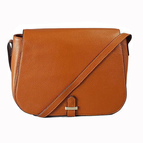 ALBERT PARK - Cognac Pebbled Leather Saddle Bag