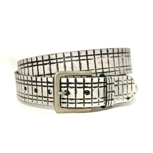 ANGUS - Mens Black and White Leather Belt - BeltNBags