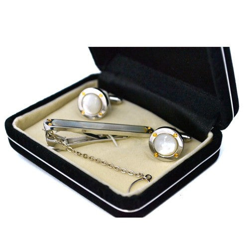 ANTHONY - Mens Mother of Pearl Silver Cuff Links and Tie Pin - Belt N Bags