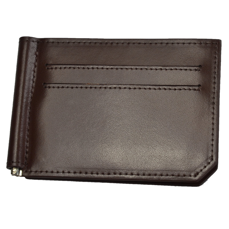 APOLLO - Mens Brown Genuine Leather Card Holder Thin Money Clip Wallet  - Belt N Bags