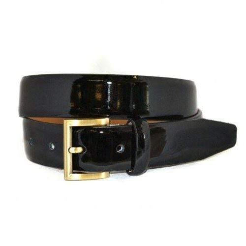 AURORA - Womens Black Genuine Leather Patent Belt with Gold Buckle  - Belt N Bags