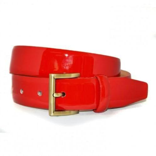 AURORA - Womens Red Leather Shiny Patent Belt with Gold Buckle  - Belt N Bags