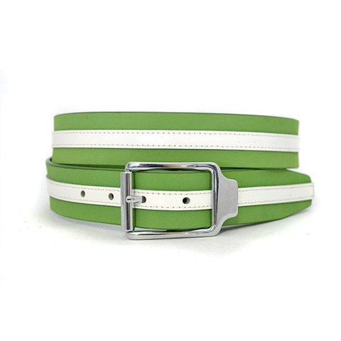 BANNAY - Unisex Green & White Leather Belt