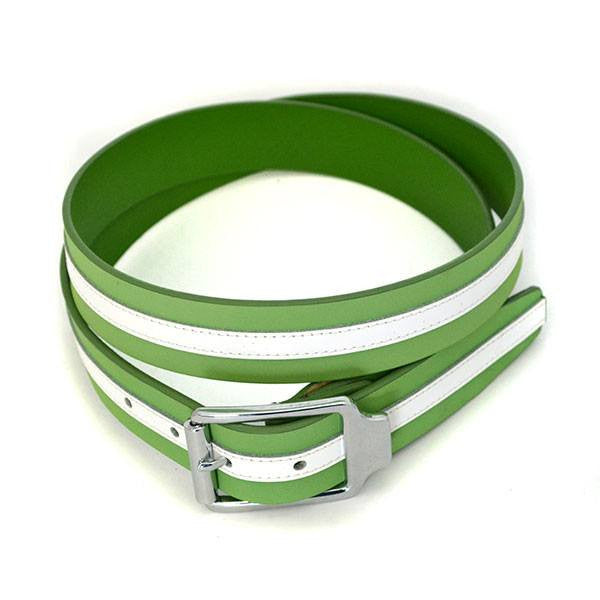 BANNAY - Unisex Green & White Leather Belt - BeltNBags