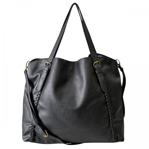 BECKY - Womens Black Tote Bag With Plait Detail - Belt N Bags