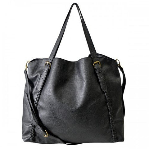 BECKY - Womens Black Tote Bag With Plait Detail