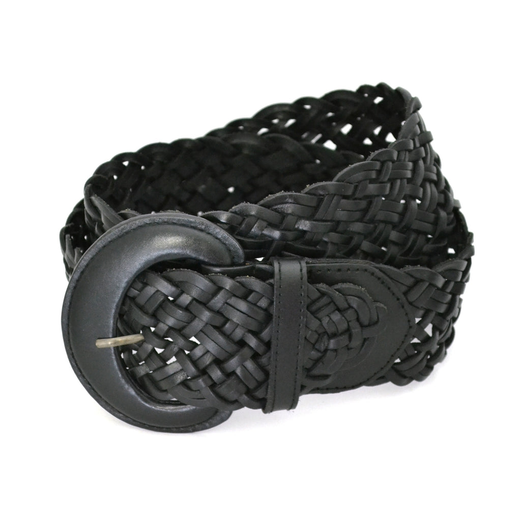 BELINDA - Womens Black Genuine Leather Plaited Belt  - Belt N Bags