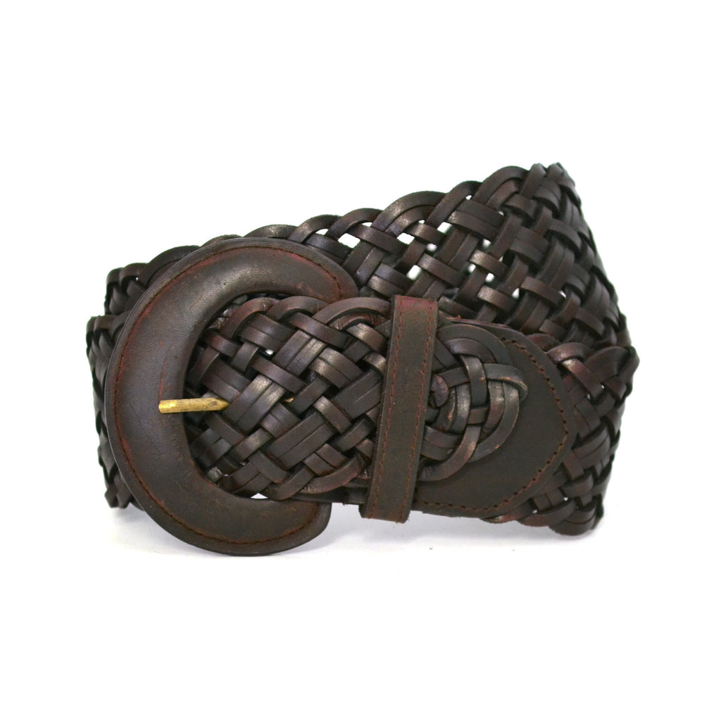BELINDA - Womens Chocolate Leather Plaited Belt  - Belt N Bags