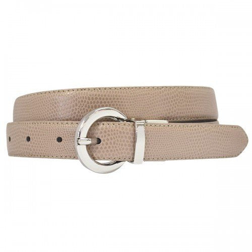 BELLA - Women Beige and Black Leather Reversible Belt with Round Buckle  - Belt N Bags