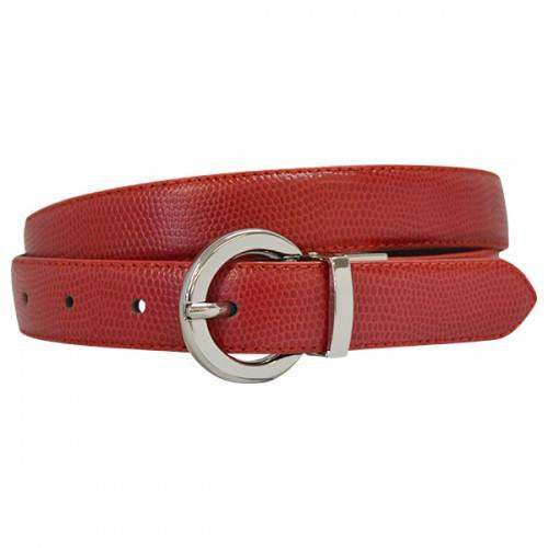BELLA - Women Red and Black Leather Reversible Belt with Round Buckle  - Belt N Bags