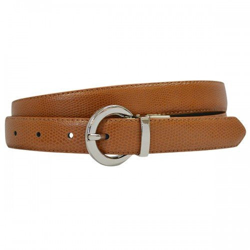 BELLA - Women Tan and Black Reversible Leather Belt with Round Buckle  - Belt N Bags
