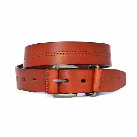 BENJI - Mens Dark Tan Genuine Leather Belt