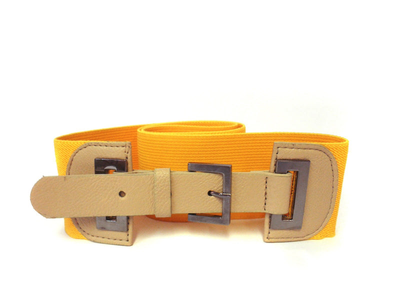BETHANY - Women's Faux Leather Yellow & Nude Elastic Belt  - Belt N Bags