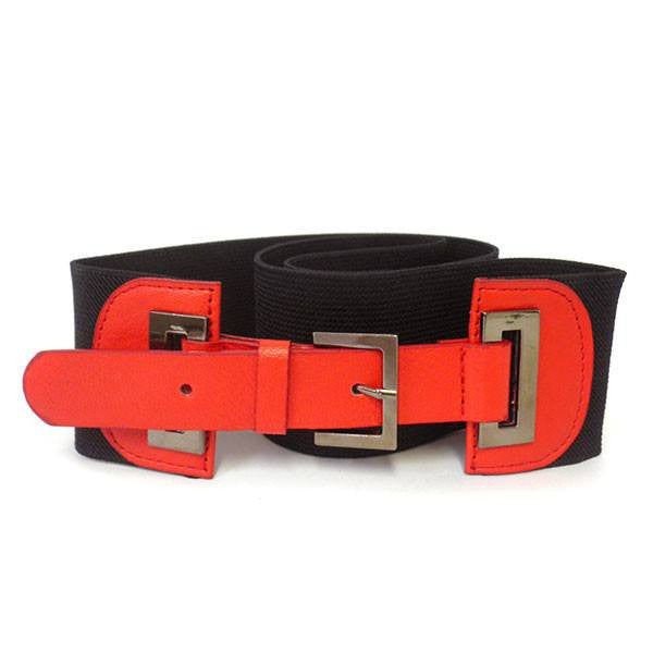 BETHANY - Women's Faux Leather Black & Red Elastic Belt with Silver Buckle  - Belt N Bags