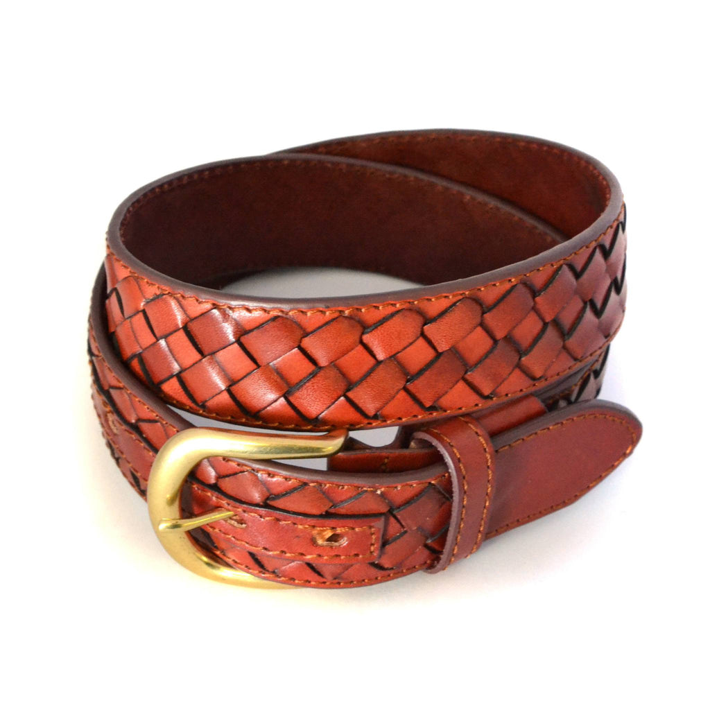BRADLEY - Mens Brown Woven Genuine Leather Belt-CLEARANCE  - Belt N Bags