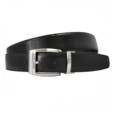 BRENTON - Mens Black & Chocolate Genuine Leather Reversible Belt
