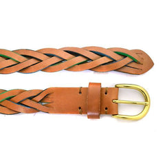 BRETT - Mens Tan Plaited Genuine Leather belt
