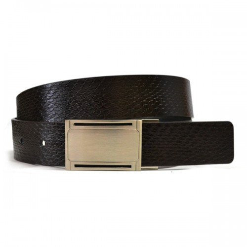 BRONX - Mens Black and Brown Bonded Leather Belt - Belt N Bags