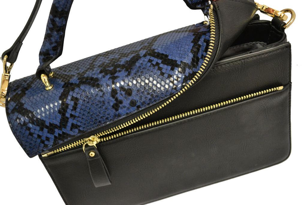 Billie  - Snakeskin Faux Leather Crossbody with Interchangeable Lids - CLEARANCE  - Belt N Bags