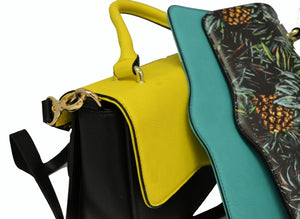 Billie  - Tropical Faux Leather Crossbody with Interchangeable Lids - Belt N Bags