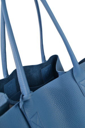 BIRCHGROVE Addison Road Womens Light Blue Genuine Pebbled Leather Tote  - Belt N Bags