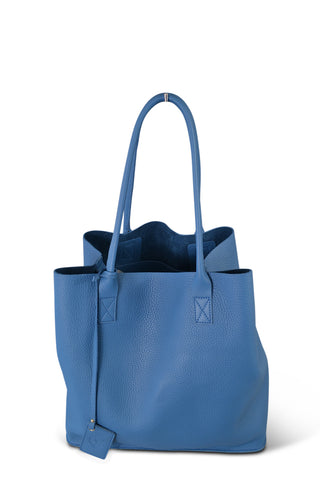 BIRCHGROVE Addison Road Womens Light Blue Genuine Pebbled Leather Tote