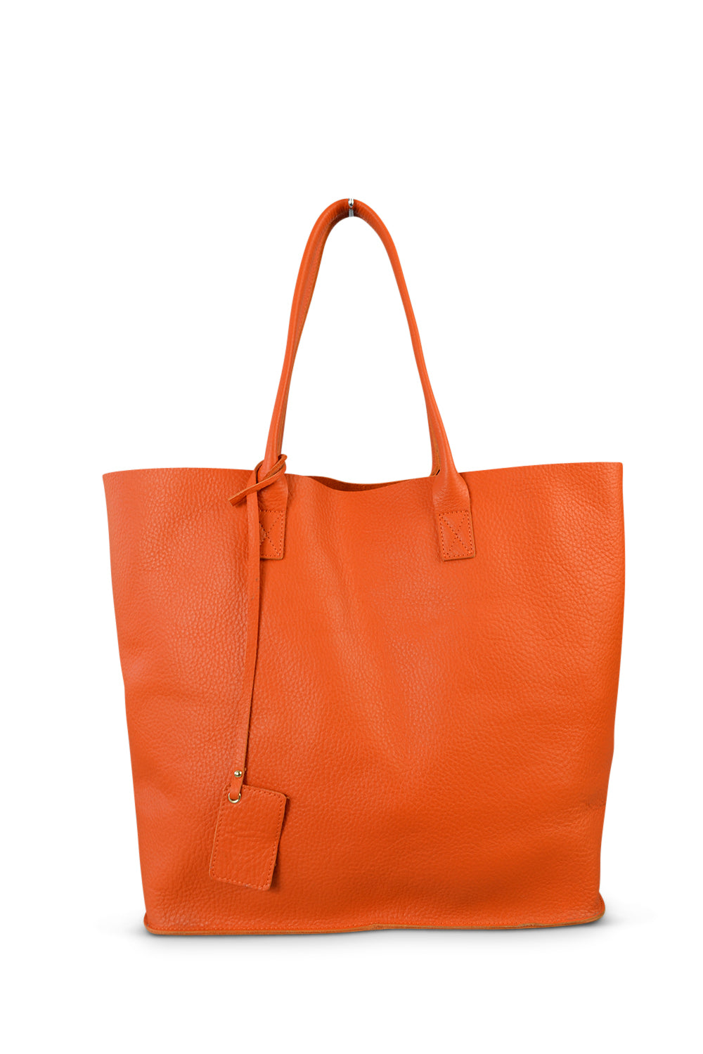 BIRCHGROVE Addison Road Womens Orange Genuine Pebbled Leather Tote  - Belt N Bags