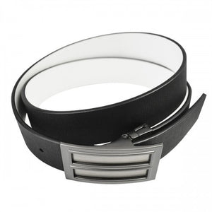 ZORAN - Mens Black and White Bonded Leather Belt - BeltNBags