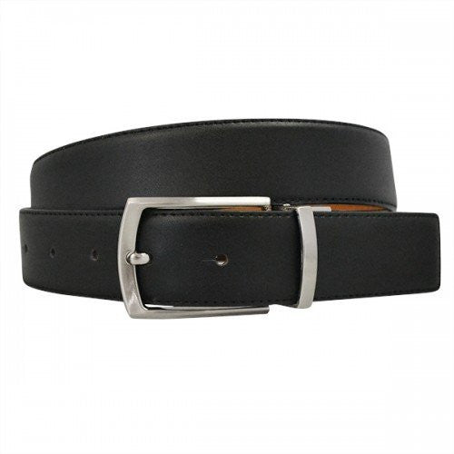 CAMERON - Mens Black & Camel Genuine Leather Reversible Belt - Belt N Bags