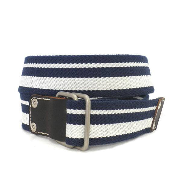 CAMPBELL - Mens Navy & White Webbing Belt - BeltNBags