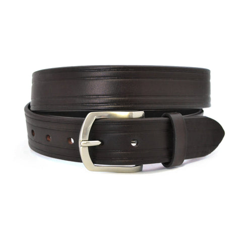 CARLOS - Mens Dark Brown Genuine Leather Belt