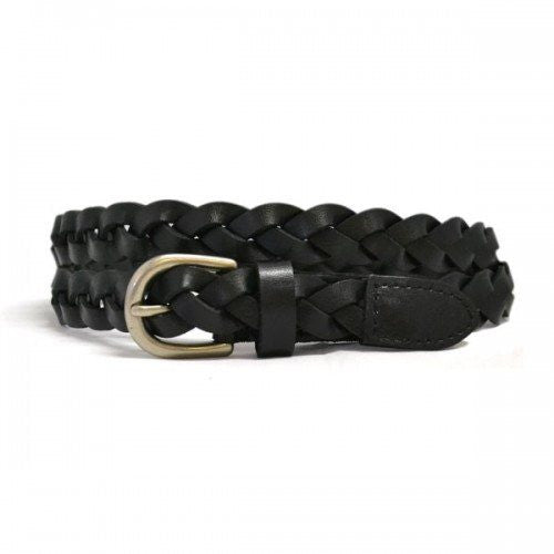 CAROL - Womens Black Genuine Leather Plaited Belt - Belt N Bags