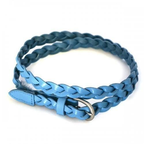 CAROL - Womens Light Blue Genuine Leather Skinny Plaited Belt  - Belt N Bags