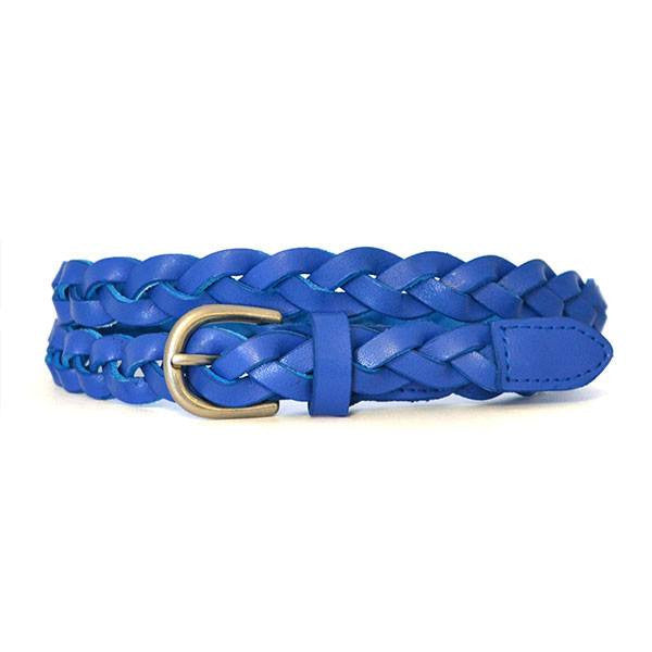 CAROL - Womens Cobalt Blue Genuine Leather Skinny Plaited Belt  - Belt N Bags