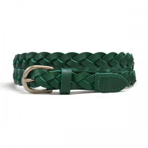 CAROL - Womens Green Genuine Leather Plaited Belt  - Belt N Bags
