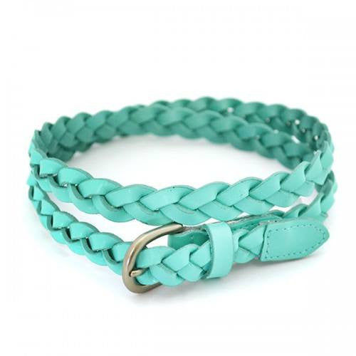 CAROL - Womens Green Skinny Plaited Leather Belt  - Belt N Bags