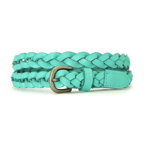 CAROL - Womens Mint Green Skinny Plaited Leather Belt  - Belt N Bags