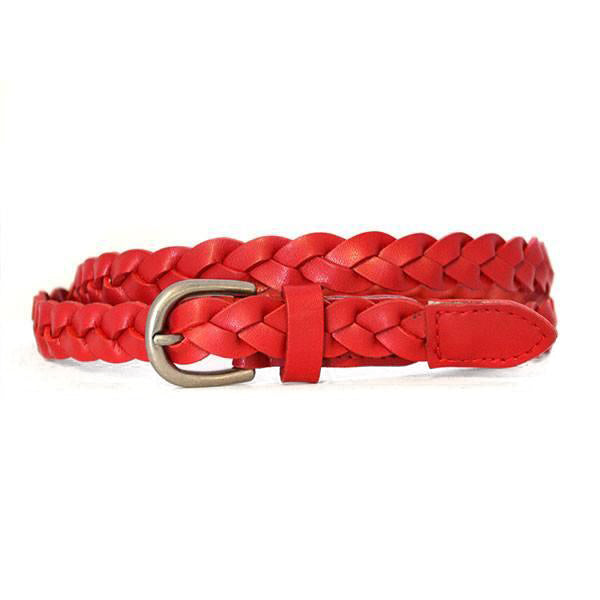 CAROL - Womens Red Genuine Leather Skinny Plaited Belt with Silver Buckle  - Belt N Bags