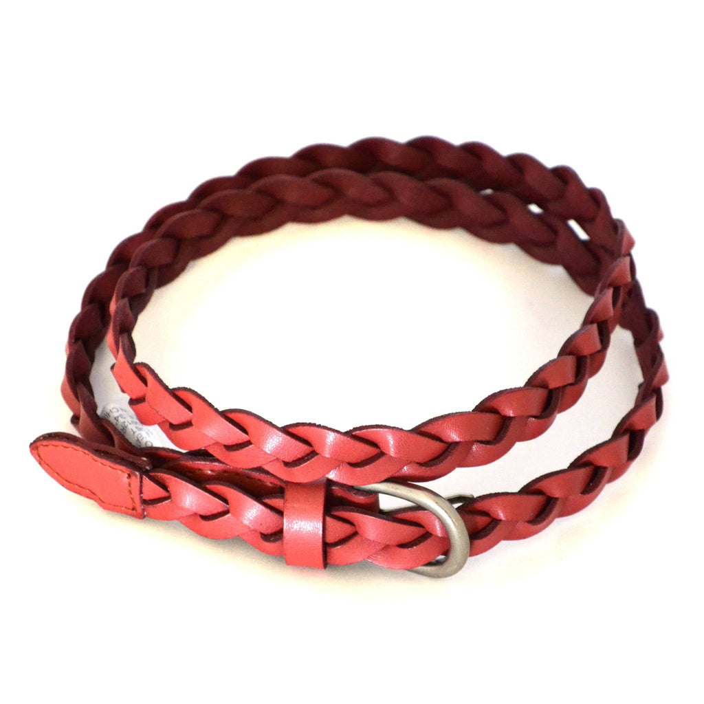 CAROL - Womens Rust Red Genuine Leather Plaited Belt  - Belt N Bags