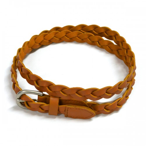 CAROL - Womens Tan Genuine Leather Plaited Belt  - Belt N Bags