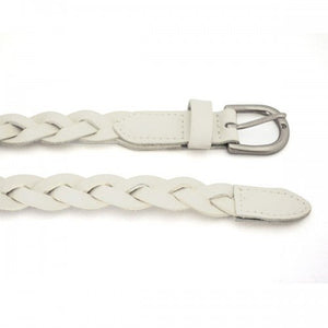 CAROL - Womens White Genuine Leather Skinny Plaited Belt  - Belt N Bags