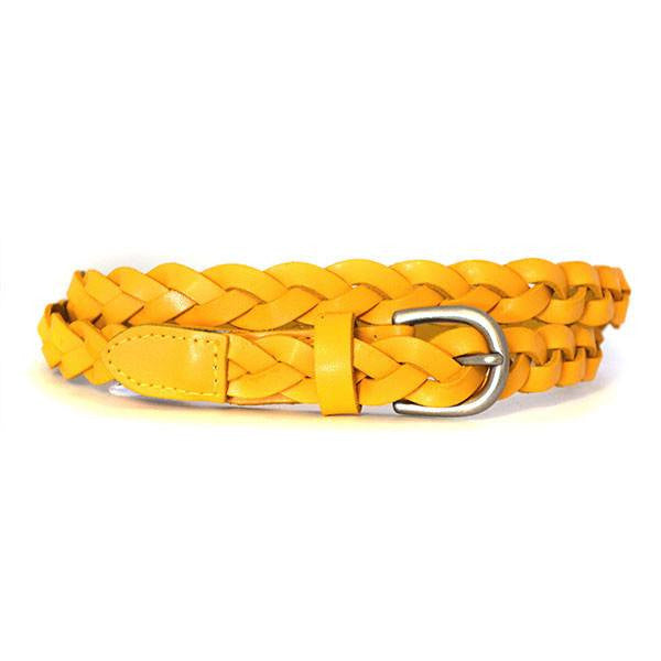 CAROL - Womens Yellow Braided Genuine Leather Plaited Belt  - Belt N Bags